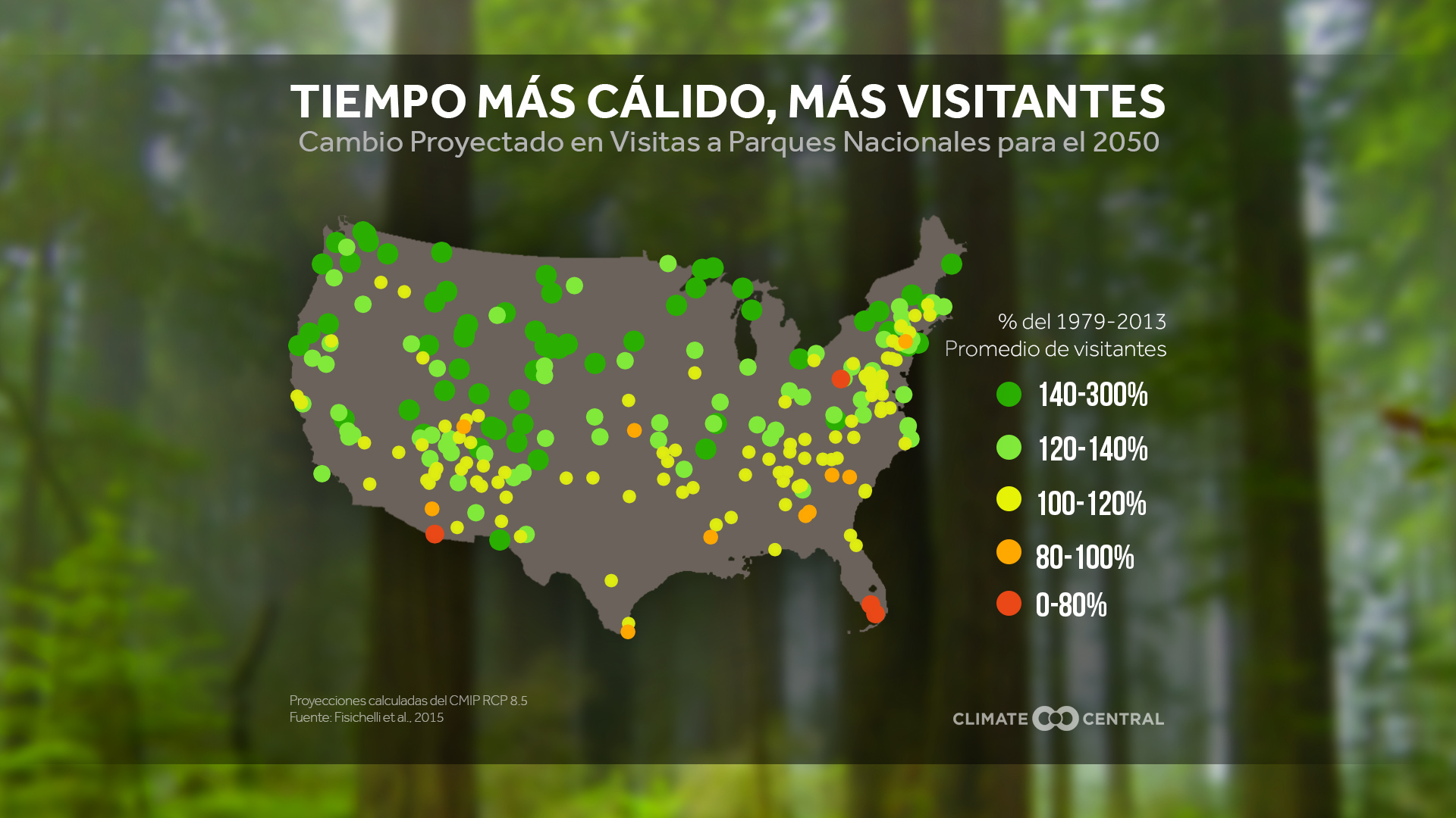 2016 map showing predicted increase in visitation